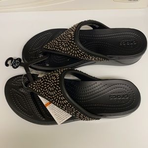 Women's Crocs Monterey Diamante Wedge Flip 7
